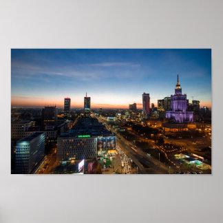 Horizon de nuit de Varsovie Poster
