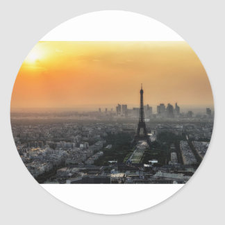 Horizon de Paris pendant le matin Sticker Rond