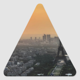 Horizon de Paris pendant le matin Sticker Triangulaire