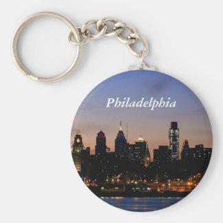 Horizon de Philadelphie au crépuscule Porte-clé Rond