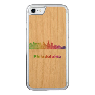 Horizon de Philadelphie d'arc-en-ciel Coque Iphone 7 En Bois