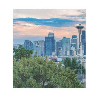 Horizon de Seattle au coucher du soleil Blocs Notes