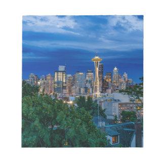 Horizon de Seattle au crépuscule Blocs Notes