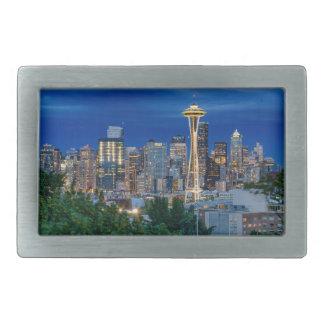 Horizon de Seattle au crépuscule Boucle De Ceinture Rectangulaire