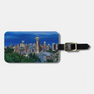 Horizon de Seattle au crépuscule Étiquettes Bagages