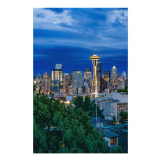 Horizon de Seattle au crépuscule Papeterie