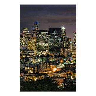 Horizon de Seattle la nuit Papier À Lettre