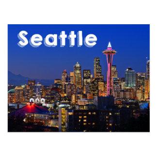 Horizon de Seattle, Washington la nuit Etats-Unis Carte Postale