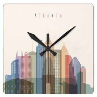 Horizon de ville d'Atlanta, la Géorgie | Horloge Carrée