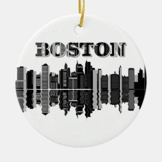 Horizon de ville de Boston Ornement Rond En Céramique