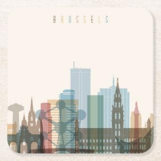 Horizon de ville de Bruxelles, Belgique | Dessous-de-verre Carré En Papier