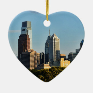 Horizon de ville de Philadelphie Ornement Cœur En Céramique