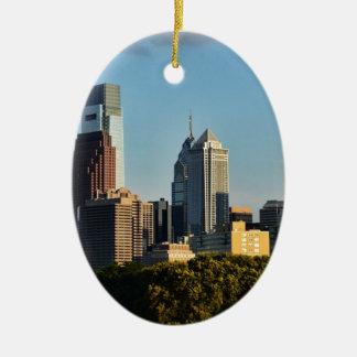 Horizon de ville de Philadelphie Ornement Ovale En Céramique