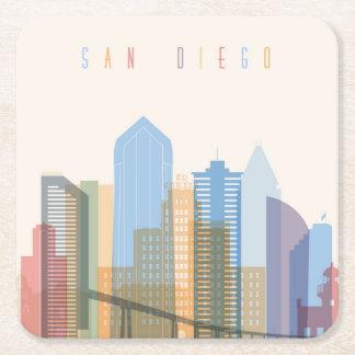 Horizon de ville de San Diego Dessous-de-verre Carré En Papier