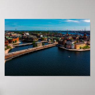Horizon de ville de Stockholm Poster