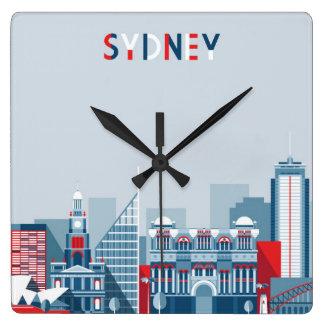 Horizon de ville de Sydney Australie Horloge Carrée