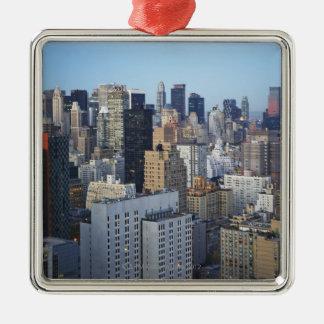 Horizon des Etats-Unis, New York City, Manhattan Ornement Carré Argenté