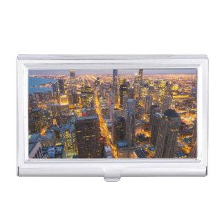 Horizon du centre de Chicago au crépuscule Boîtier Pour Cartes De Visite