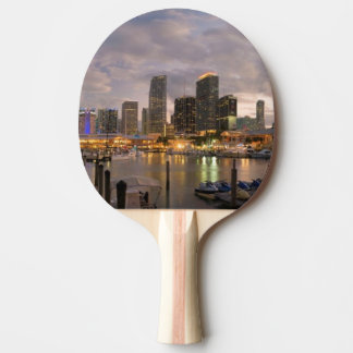 Horizon financier de Miami au crépuscule Raquette Tennis De Table