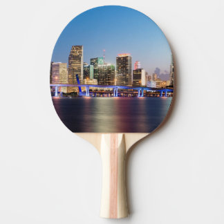Horizon lumineux de Miami du centre au crépuscule Raquette Tennis De Table