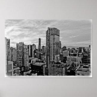 Horizon noir et blanc de Vancouver Poster