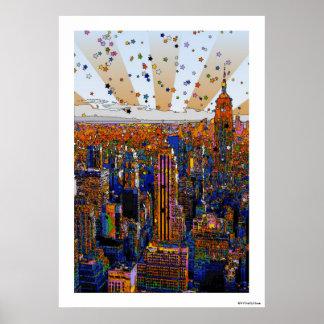 Horizon psychédélique de NYC : ESB, WTC #1 Poster