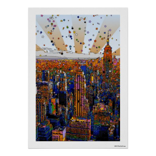 Horizon psychédélique de NYC : ESB, WTC #1 Posters