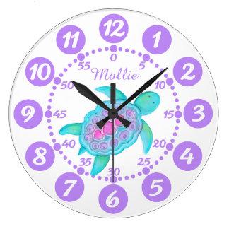 Horloge blanche pourpre de la tortue de l'enfant d