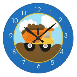 Horloge bleue de construction de camion à benne