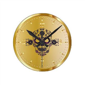 Horloge brillante de crâne de sucre d'or de Faux