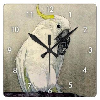 Horloge Carrée オウム de ・ de キバタン, cacatoès Soufre-crêté, Yoshida