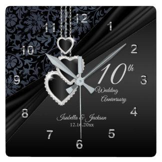 Horloge Carrée 10ème Souvenir 2 d'anniversaire de mariage d'onyx