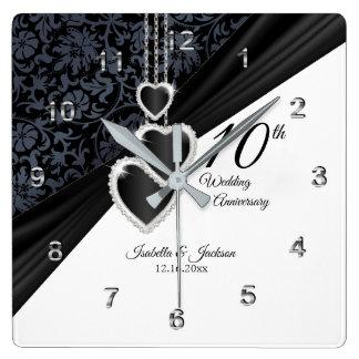 Horloge Carrée 10ème Souvenir d'anniversaire de mariage d'onyx