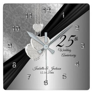 Horloge Carrée 25ème Souvenir d'anniversaire de noces d'argent
