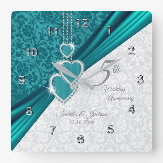 Horloge Carrée 5ème Souvenir d'anniversaire de mariage de