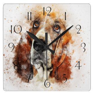 Horloge Carrée Abrégé sur Basset Hound