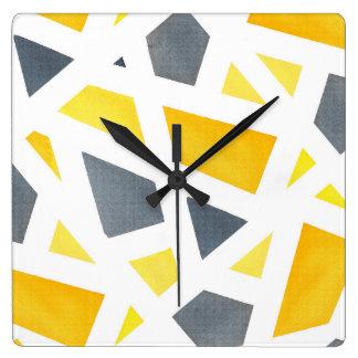 Horloge Carrée Abrégé sur jaune gris géométrique