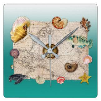 Horloge Carrée Aigue-marine marine de collage