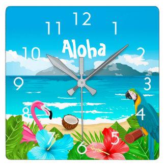 Horloge Carrée Aloha plage tropicale avec le flamant et les
