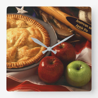 Horloge Carrée Américain comme tarte aux pommes