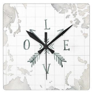 Horloge Carrée Amour de l'aventure III   d'envie de voyager