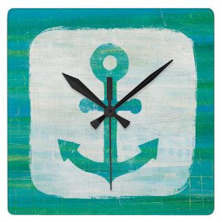 Horloge Carrée Ancre côtière d'Aqua de l'art |