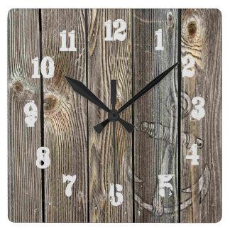Horloge Carrée Ancre en bois semblante authentique améliorée de