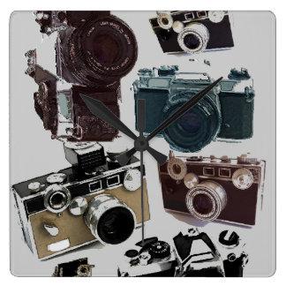 Horloge Carrée Appareil-photo grunge de cru de photographie de