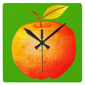 Horloge Carrée Apple portent des fruits élégant artistique de