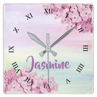 Horloge Carrée Aquarelle d'hortensia de rose assez en pastel