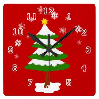 Horloge Carrée Arbre de Noël avec des flocons de neige de neige