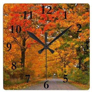 Horloge Carrée Arbres colorés d'automne