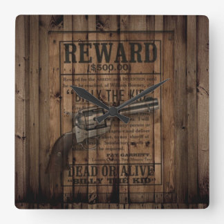 Horloge Carrée arme à feu rustique de pays occidental de cowboy