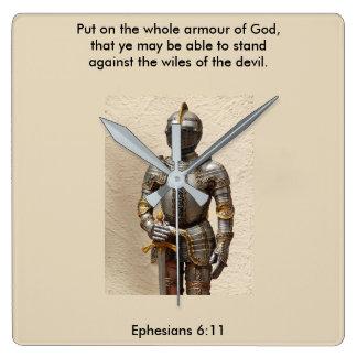 Horloge Carrée Armure de l'horloge w/Armour de Dieu